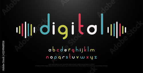 Photo digital alphabet font music with colorful typography