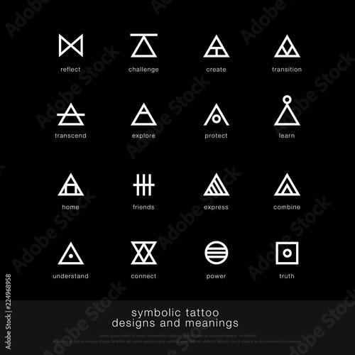 symbolic tattoo design and meaning. minimalist graphic tattoo icon symbol graphic design template. vector illustration