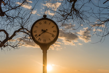 Clock at Sunset and Cloudscape at San Marco di Castellabate Italy