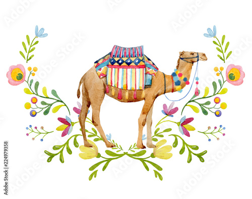 Canvas Print Watercolor camel illustration