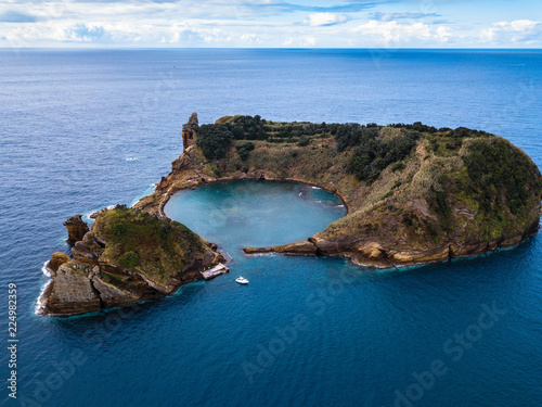 Islet of Vila Franca do Campo near San Miguel island, is formed by the crater of an old underwater volcano, Azores archipelago, Portugal.