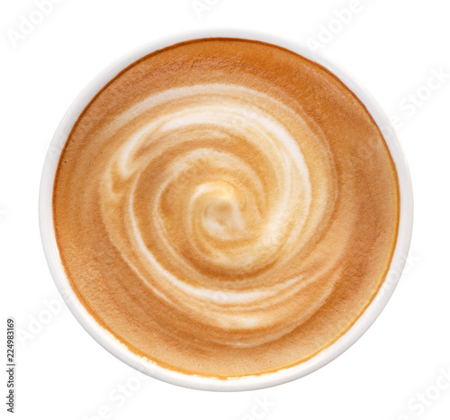 Fotomural Top view of hot coffee latte cappuccino spiral foam isolated on white background