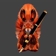 Drawing Squirrel With Fluffy Ears And Tail, With A Fountain Pen In The Paws, Low Poly Triangular Vector Illustration.