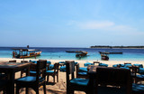 Fototapeta Do akwarium - restauracja z widokiem na morze