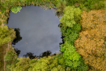 Top Down View On Water Pond An...