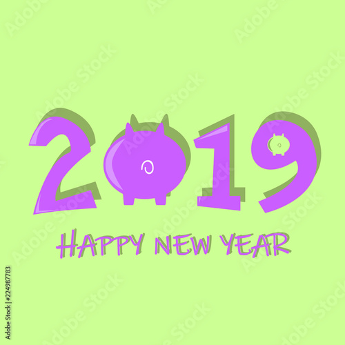 2019 new year banner background vector icon on yellow background