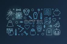 Oct 31 Holiday Horizontal Concept Blue Vector Illustration
