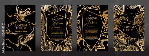 Fotografía  Gold marble texture and geometric frames on black backgrounds vector set