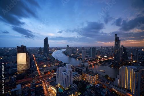 In de dag Bangkok scenic of cityscape of bangkok sunset twilight skyline