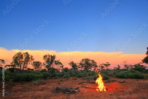 Staande foto Oceanië Evening fire in Australian outback