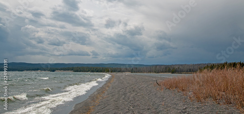 Narrow peninsula of sand called Hard Road to Follow on the banks of Yellowstone Lake in Yellowstone National Park in Wyoming United States