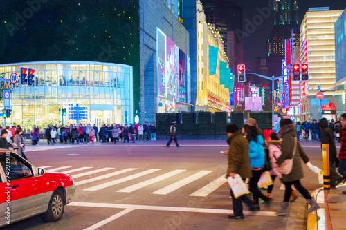 obraz dibond People on crossroad, Shanghai street