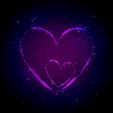 Neon Purple Heart On Dark Background. Vector Illustration. Valentines Day Card. Party Flyer.