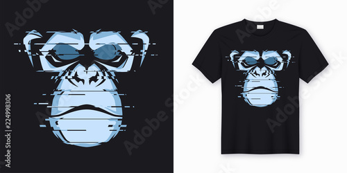 Leinwand Poster Vector t-shirt and apparel design with glitchy head of a chimp
