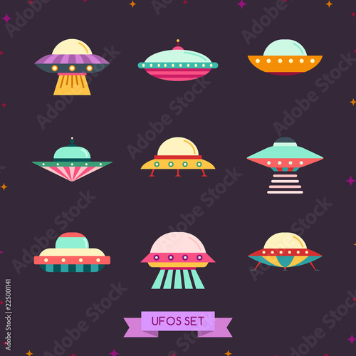 Photo  Ufo flat icon set. Clean and simple design.