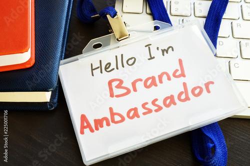 Brand ambassador badge on a keyboard. Canvas Print