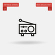 Outline Radio icon isolated on grey background. Line pictogram. Premium symbol for website design, mobile application, logo, ui. Editable stroke. Vector illustration. Eps10