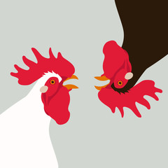 rooster head vector illustration flat style profile