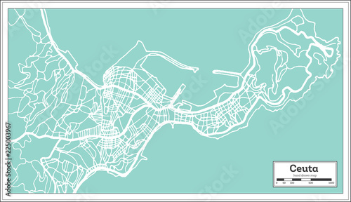 Ceuta Spain City Map in Retro Style. Outline Map.