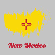 Brush Style Color Flag Of New Mexico, The Red And Yellow Of Old Spain. The Ancient Zia Sun Symbol In Red, In The Center Of A Field Of Yellow. With Text New Mexico.