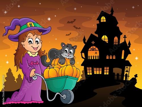 Fotobehang Voor kinderen Cute witch and cat Halloween image 3