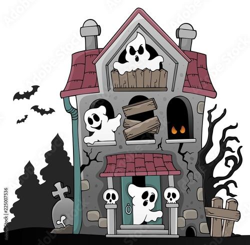 Fotobehang Voor kinderen Haunted house with ghosts theme 5