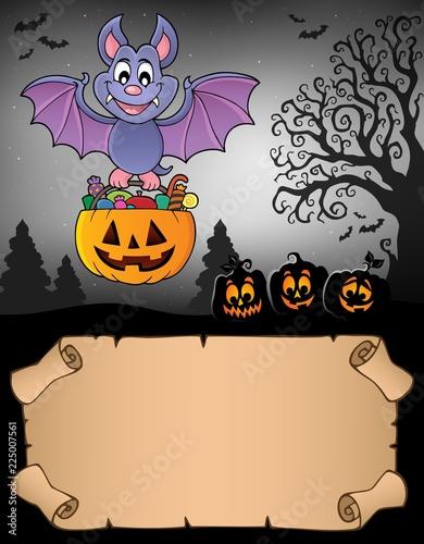 Fotobehang Voor kinderen Small parchment and Halloween bat 2