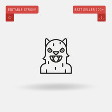 Outline Werewolf Icon Isolated On Grey Background. Line Pictogram. Premium Symbol For Website Design, Mobile Application, Logo, Ui. Editable Stroke. Vector Illustration. Eps10