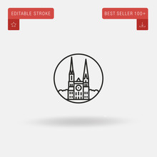 Outline Chartres Cathedral Icon Isolated On Grey Background. Line Pictogram. Premium Symbol For Website Design, Mobile Application, Logo, Ui. Editable Stroke. Vector Illustration. Eps10