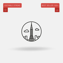 Outline Chrysler Building Icon Isolated On Grey Background. Line Pictogram. Premium Symbol For Website Design, Mobile Application, Logo, Ui. Editable Stroke. Vector Illustration. Eps10