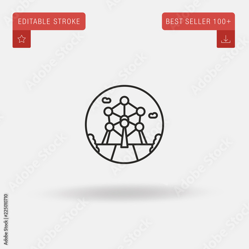 Outline Atomium icon isolated on grey background Wallpaper Mural