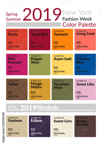 New york fashion week spring summer 2019 color palette colors of the year palette fashion - New years colors 2019 ...