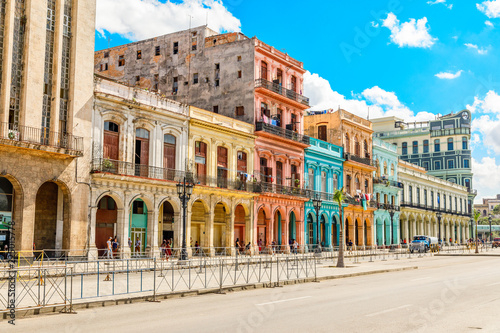 Fotobehang Havana Old Spanish colonial living colorful houses across the road in t