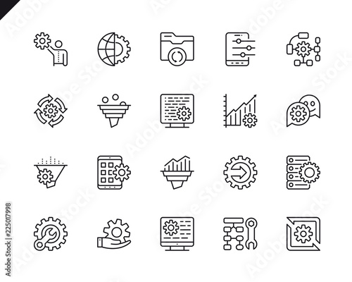 Fotografie, Obraz  Simple Set of Data Processing Related Vector Line Icons