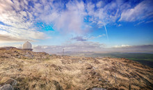 Panoramic Lanscape With A Radar Dome On The Summit. Mount Gabriel, West Cork, Ireland.