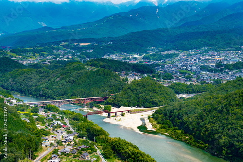 Fotografie, Obraz  岐阜県中津川市の苗木城跡地から見た風景