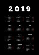 2019 Year Simple Calendar On G...