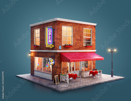 Photo  Unusual 3d illustration of a cozy cafe