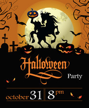 Halloween Party Lettering With Date, Headless Horseman And Moon. Invitation Or Advertising Design. Handwritten Text, Calligraphy. For Leaflets, Brochures, Invitations, Posters Or Banners.