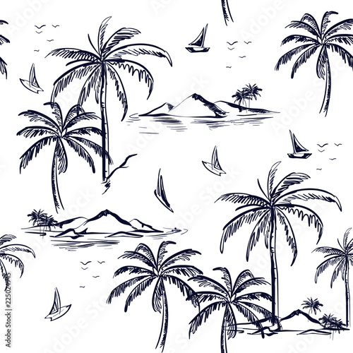 fototapeta na szkło Beautiful seamless island pattern on white background. Landscape with palm trees,beach and ocean vector hand drawn style.