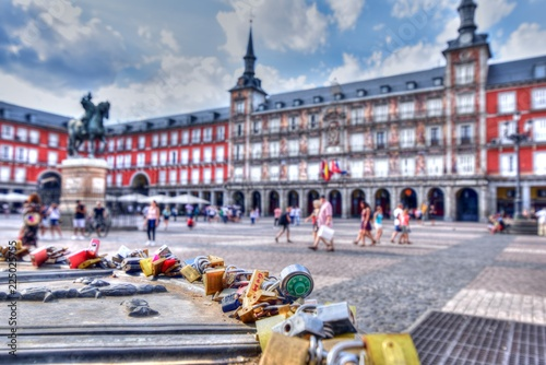 Poster Artistique Plaza Mayor, Madrid, Spain. Love Padlocks. Couples write their names on padlocks to symbolize undying love