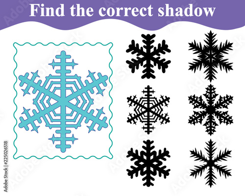 Foto auf AluDibond Boho-Stil Find the correct shadow of snowflake. Education. Vector illustration.