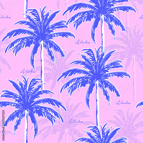 Blue Hand drawing  palm trees on the pink background. Vector seamless pattern. Tropical illustration. Jungle foliage. Wall mural
