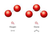 Oxygen O2 And Ozone O3 Molecul...