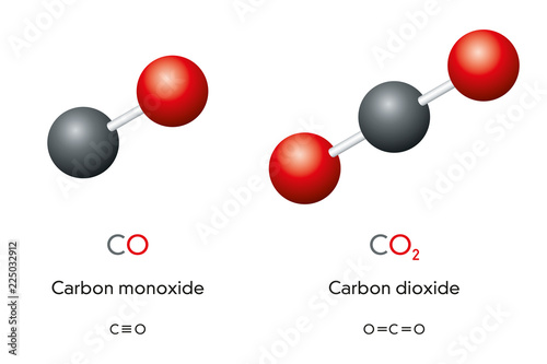 Fényképezés Carbon monoxide CO and carbon dioxide CO2 molecule models and chemical formulas