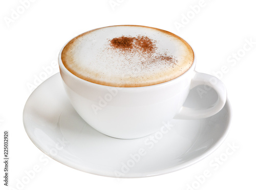 Leinwand Poster Hot coffee cappuccino in ceramic cup isolated on white background, clipping path