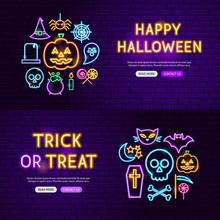 Halloween Neon Website Banners