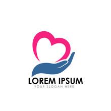 Heart Care Logo Design Template
