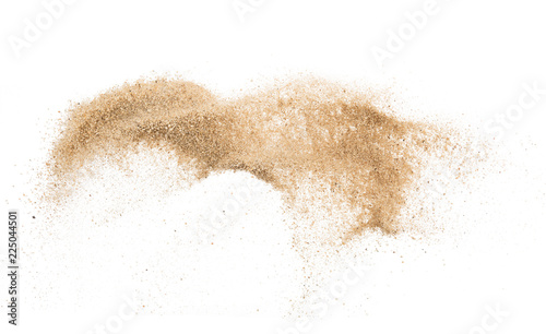 Fototapeta Sand flying explosion isolated on white background ,throwing freeze stop motion object design obraz