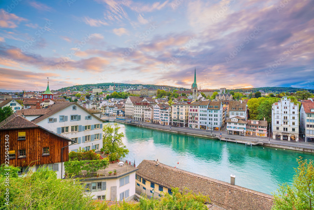 Fototapety, obrazy: Beautiful view of historic city center of Zurich at sunset